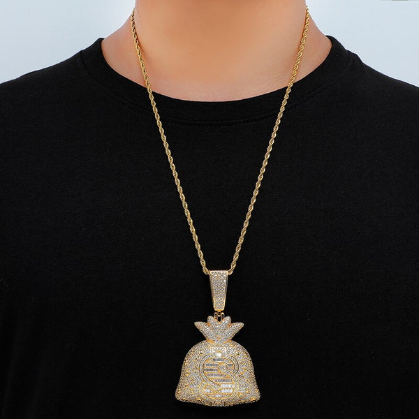 DOLLAR MONEY BAG PENDANT - GOLD