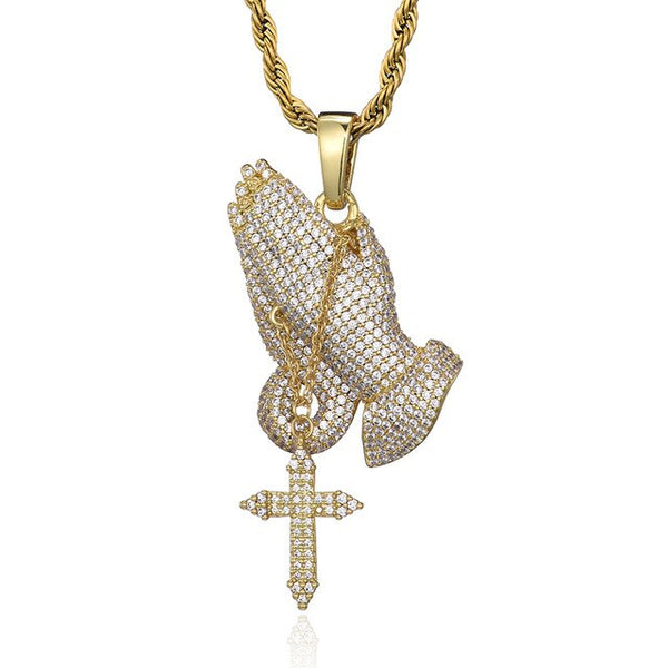 CRUCIFIX HANDS PENDANT - GOLD