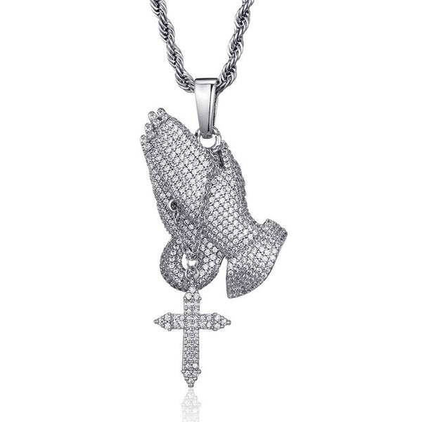 CRUCIFIX HANDS PENDANT - WHITE GOLD