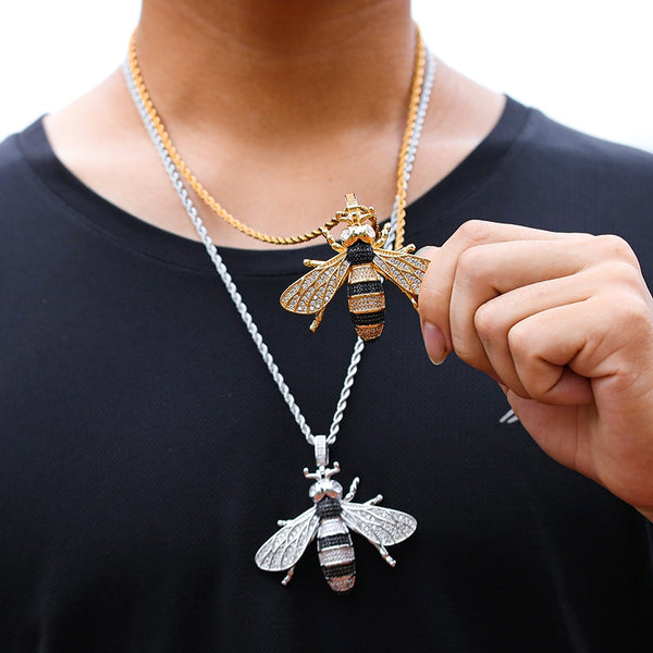 ICED OUT BEE PENDANT - BLACK & SILVER