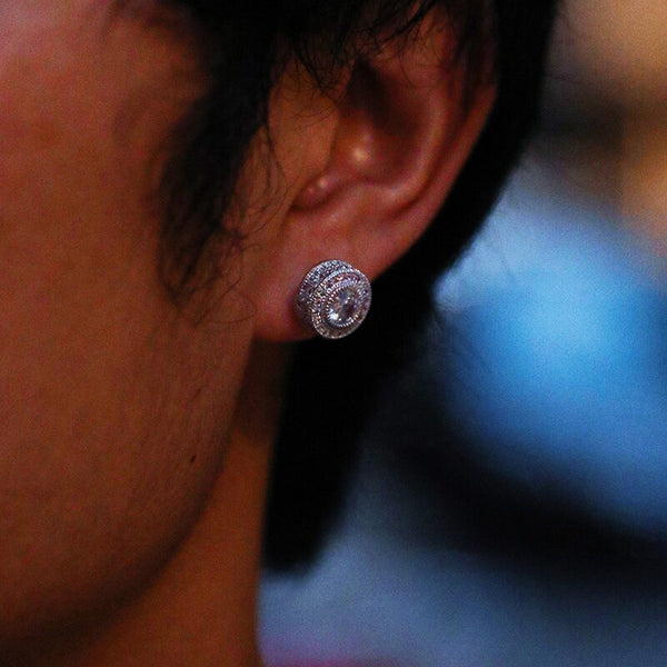 Round Stud Earring - White Gold
