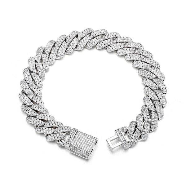 12MM PRONG BRACELET - WHITE GOLD - IceWorldz
