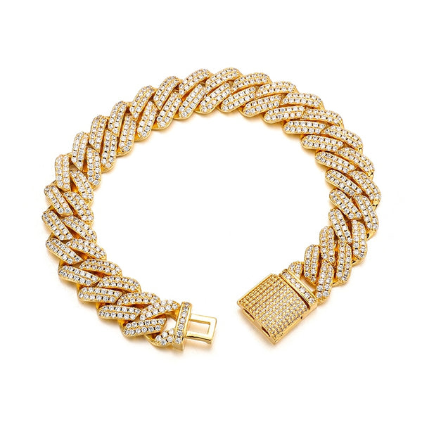 12MM PRONG BRACELET - GOLD - IceWorldz