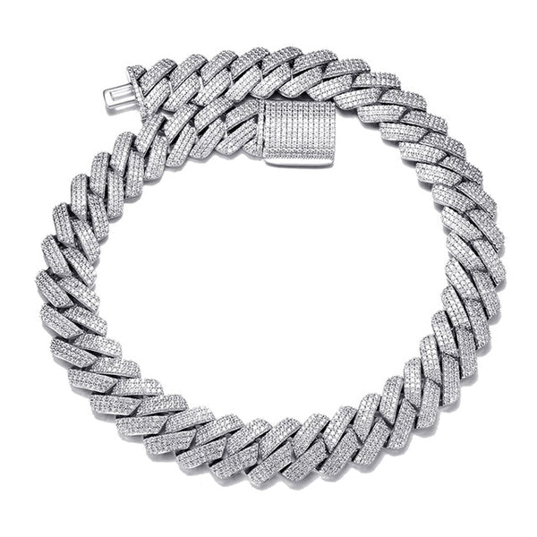 19MM CUBAN PRONG CHAIN - WHITE GOLD