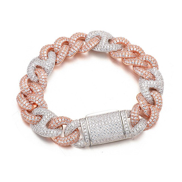 15MM CUBAN BRACELET - ROSE & SILVER