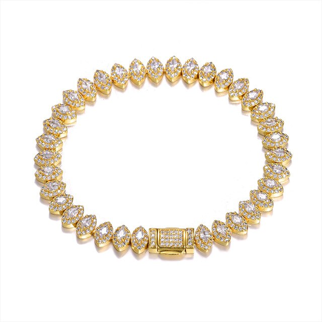 8MM ICED OUT EYE BRACELET - GOLD