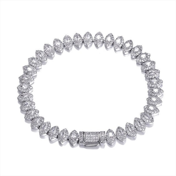 8MM ICED OUT EYE BRACELET - WHITE GOLD