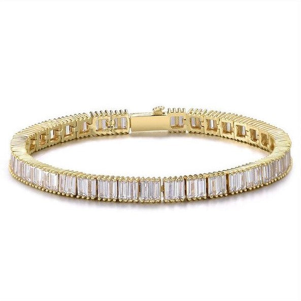 6MM CUBAN BAGUETTE TENNIS BRACELET - GOLD
