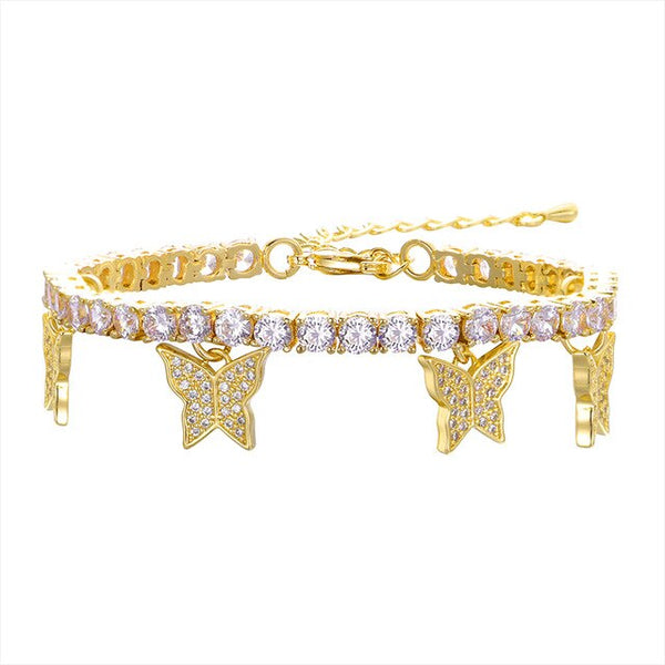 Butterfly Tennis Bracelet - Gold
