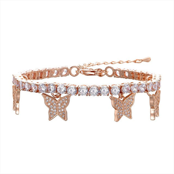 Butterfly Tennis Bracelet - Rose Gold