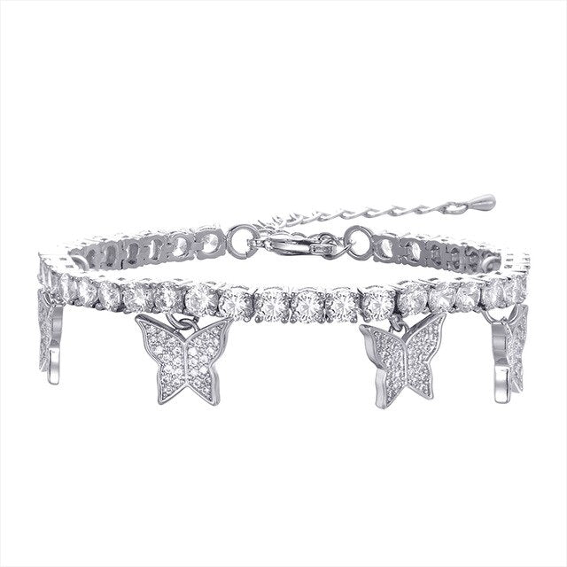 Butterfly Tennis Bracelet - White Gold