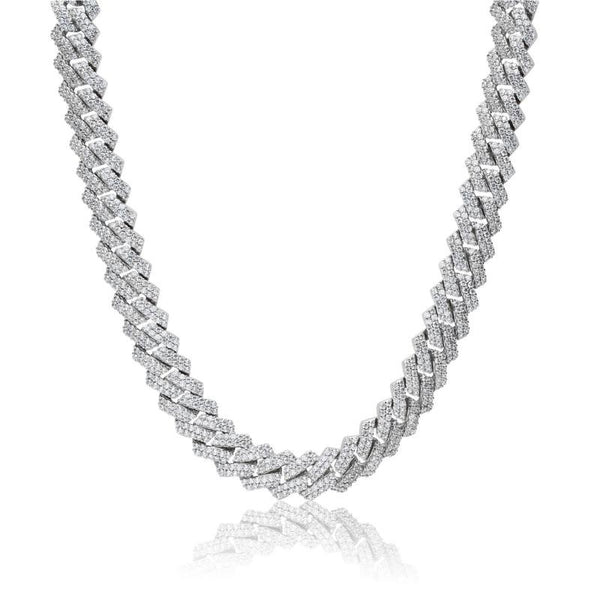 14MM DIAMOND PRONG LINK CHAIN - WHITE GOLD - IceWorldz
