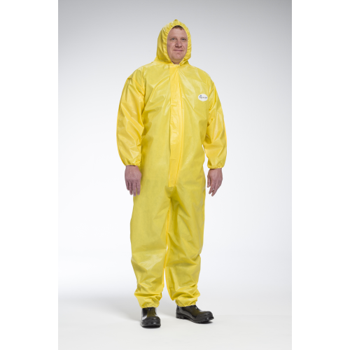PosiWear UB 3678B Yellow Hooded Coveralls with Elastic Wrists and Ankles (Case)