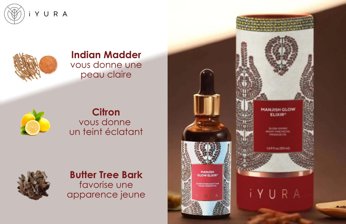 3 Key Ingredients: Indian Madder - gives you clear-looking skin; Lemon - gives you a brightened complexion & Butter Tree Bark - promotes a youthful appearance shown with a bottle of iYURA Manjish Glow Elixir