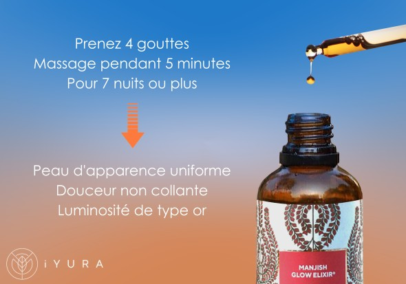 Fresh Drops of iYURA Manjish Glow Elixir with text: Take 4 drops, Massage for 5 minutes, For 7 nights to get Even-toned, spotless looking skin. Non-sticky softness & Gold-like luminosity.