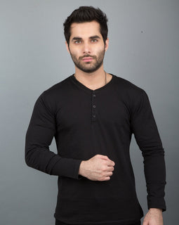Black Henley Full Sleeves
