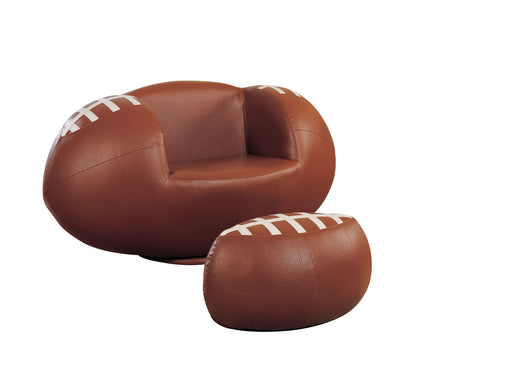 All Star Football: Brown & White Chair & Ottoman (2Pc Pk) image