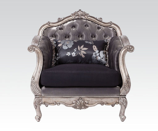 Acme Chantelle Living Room Chair w/Pillow in Antique Platinum 51542 image