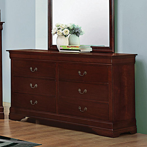 Louis Philippe Reddish Brown Six-Drawer Dresser image