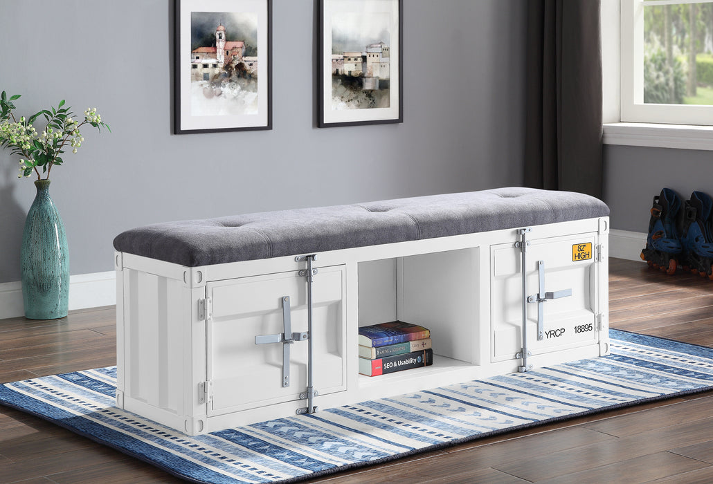 Cargo Gray Fabric & White Bench (Storage) image