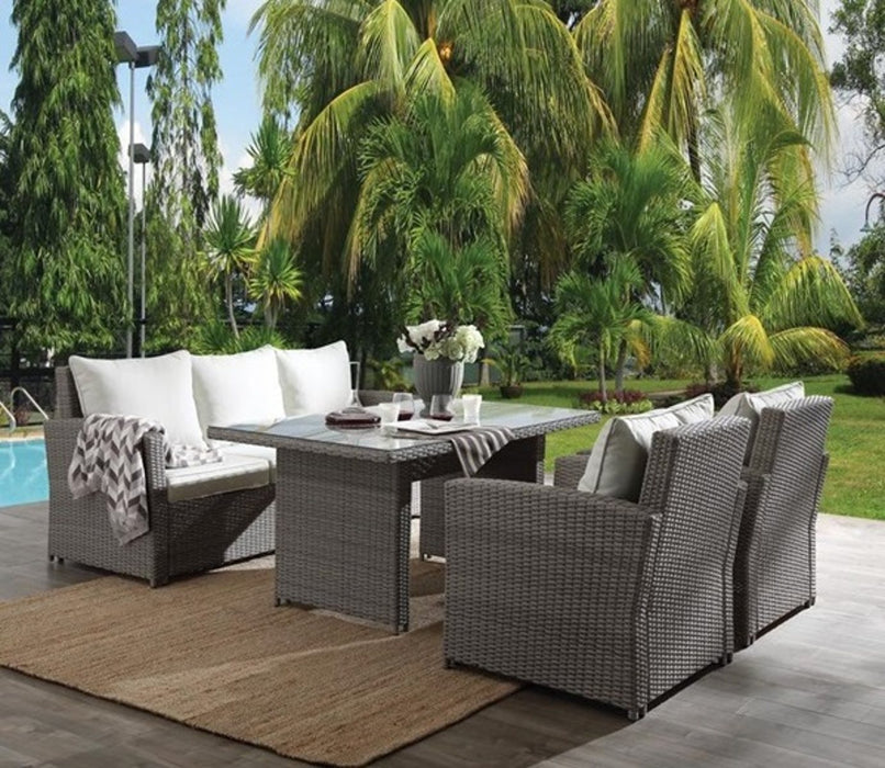 Acme Tahan 4Pc Patio Set in 2-Tone Gray Wicker 45070 image