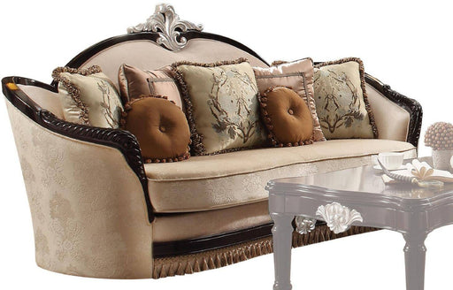 Acme Furniture Ernestine Loveseat with 6 Pillows in Tan and Black 52111 image