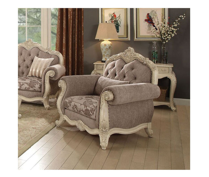 Acme Ragenardus Chair with 1 Pillow in Gray Fabric & Antique White 56022 image