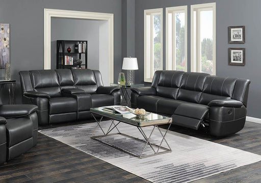 Lee Transitional Black Leather Reclining Two-Piece Living Room Set image