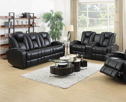 Zimmerman Black Faux Leather Power Motion Two-Piece Living Room Set image