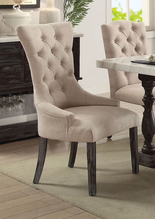 Acme Furniture Gerardo Upholstered Arm Chair in Beige and Espresso (Set of 2) 60823 image