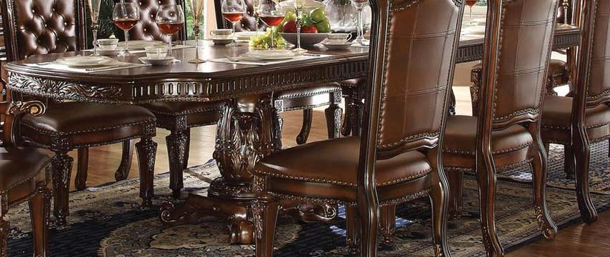 Acme Vendome Double Pedestal Dining Table with Two Leaves in Cherry 62000 image