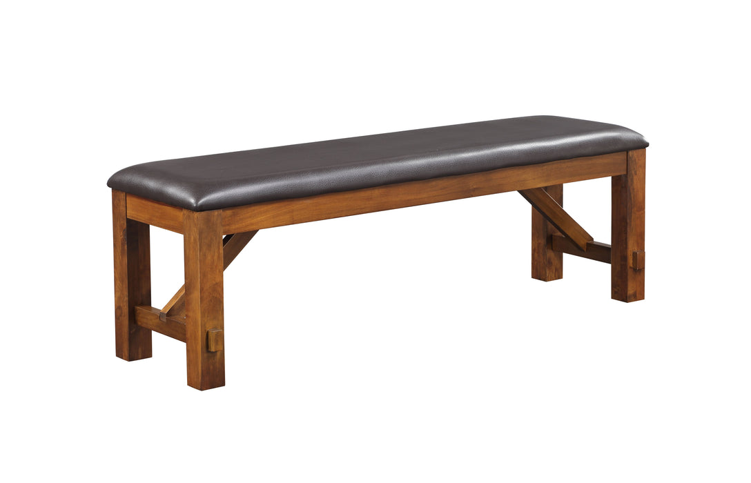 Apollo Espresso PU & Walnut Bench image