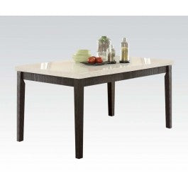 Acme Nolan Rectangular Dining Table in White Marble/Weathered Black 72850 image
