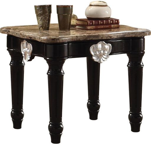 Acme Furniture Ernestine End Table in Marble/Black 82152 image