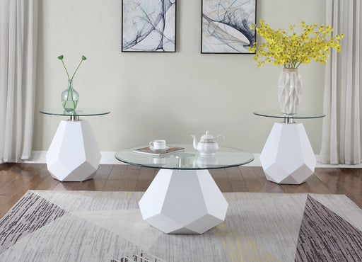 Chara White High Gloss & Clear Glass Coffee Table image