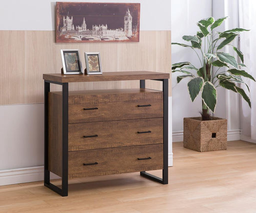 Rustic Amber Three-Drawer Accent Cabinet image