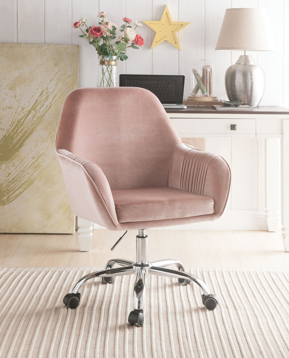 Eimer Peach Velvet & Chrome Office Chair image