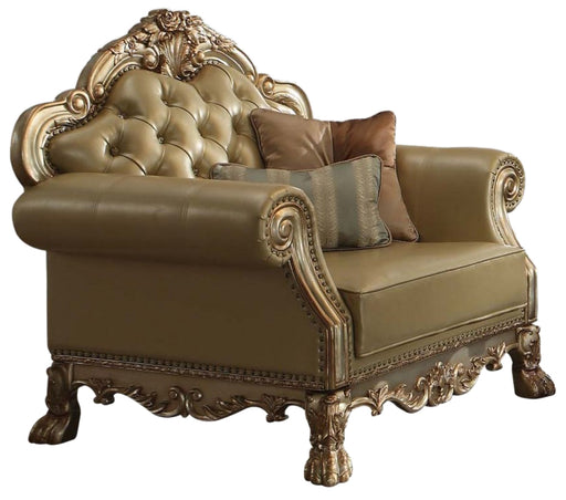 Acme Dresden Chair w/ 2 Pillows in Gold Patina 53162 image