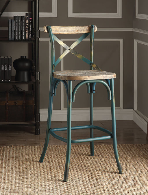 Zaire Antique Turquoise & Antique Oak Bar Chair (1Pc) image