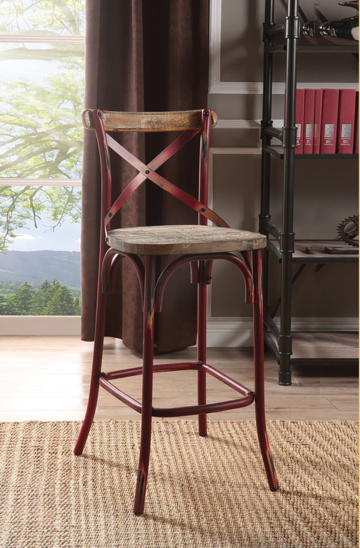 Zaire Antique Red & Antique Oak Bar Chair (1Pc) image