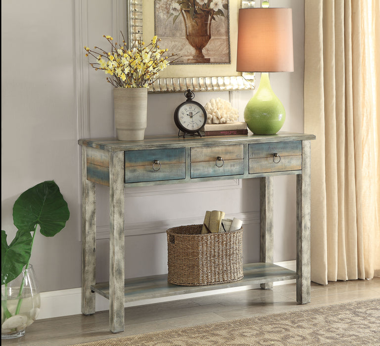 Glancio Antique White & Teal Console Table image