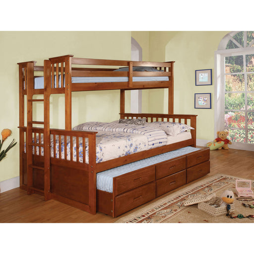 University I Oak Twin/Full Bunk Bed + Trundle image