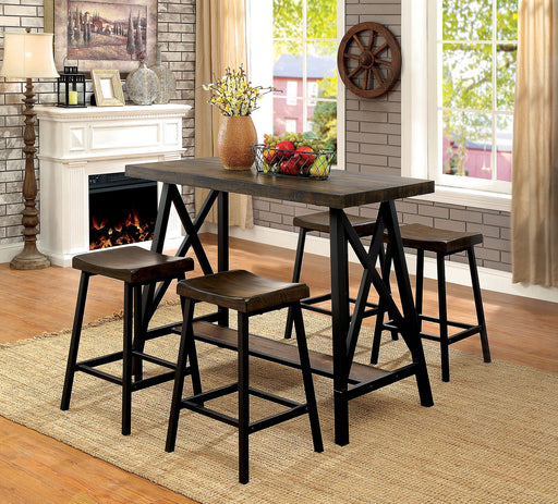 Lainey Medium Weathered Oak/Black 5 Pc. Bar Table Set image