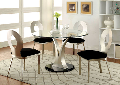 VALO Silver/Black Round Dining Table image