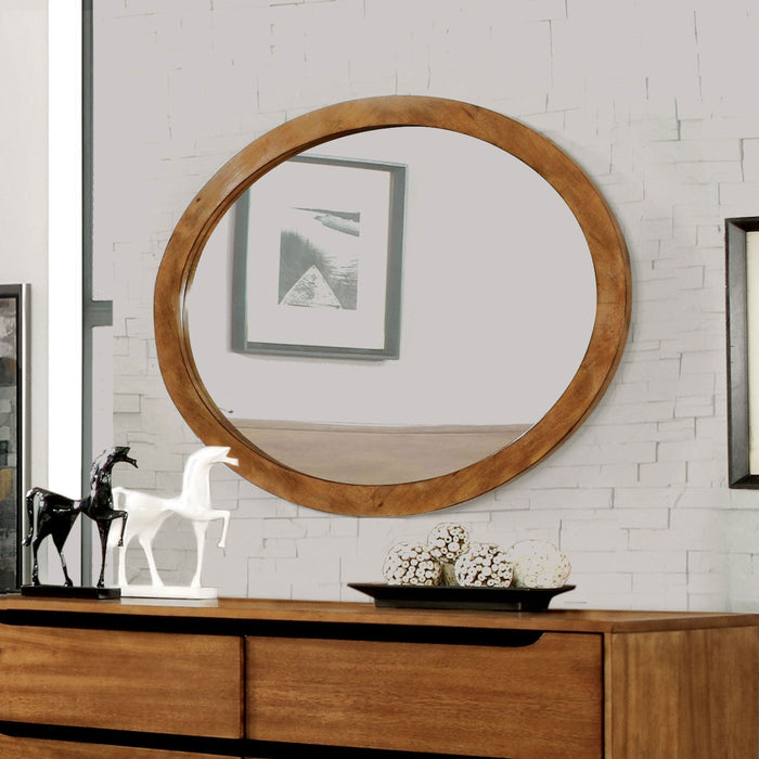 Lennart Oak Oval Mirror image