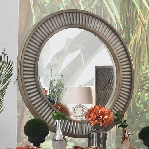 Kamalah Antique Gray Round Mirror image