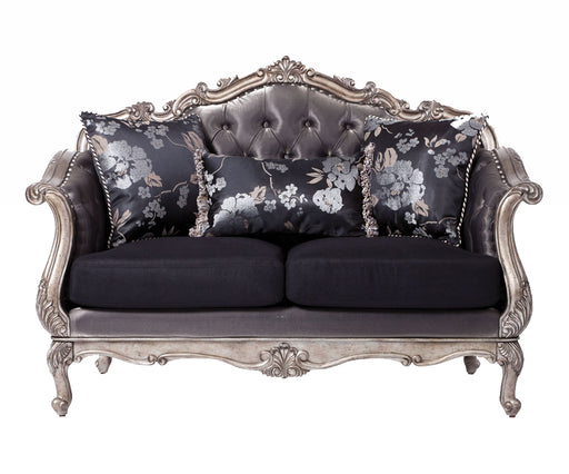 Acme Chantelle Loveseat w/3 Pillows in Antique Platinum 51541 image