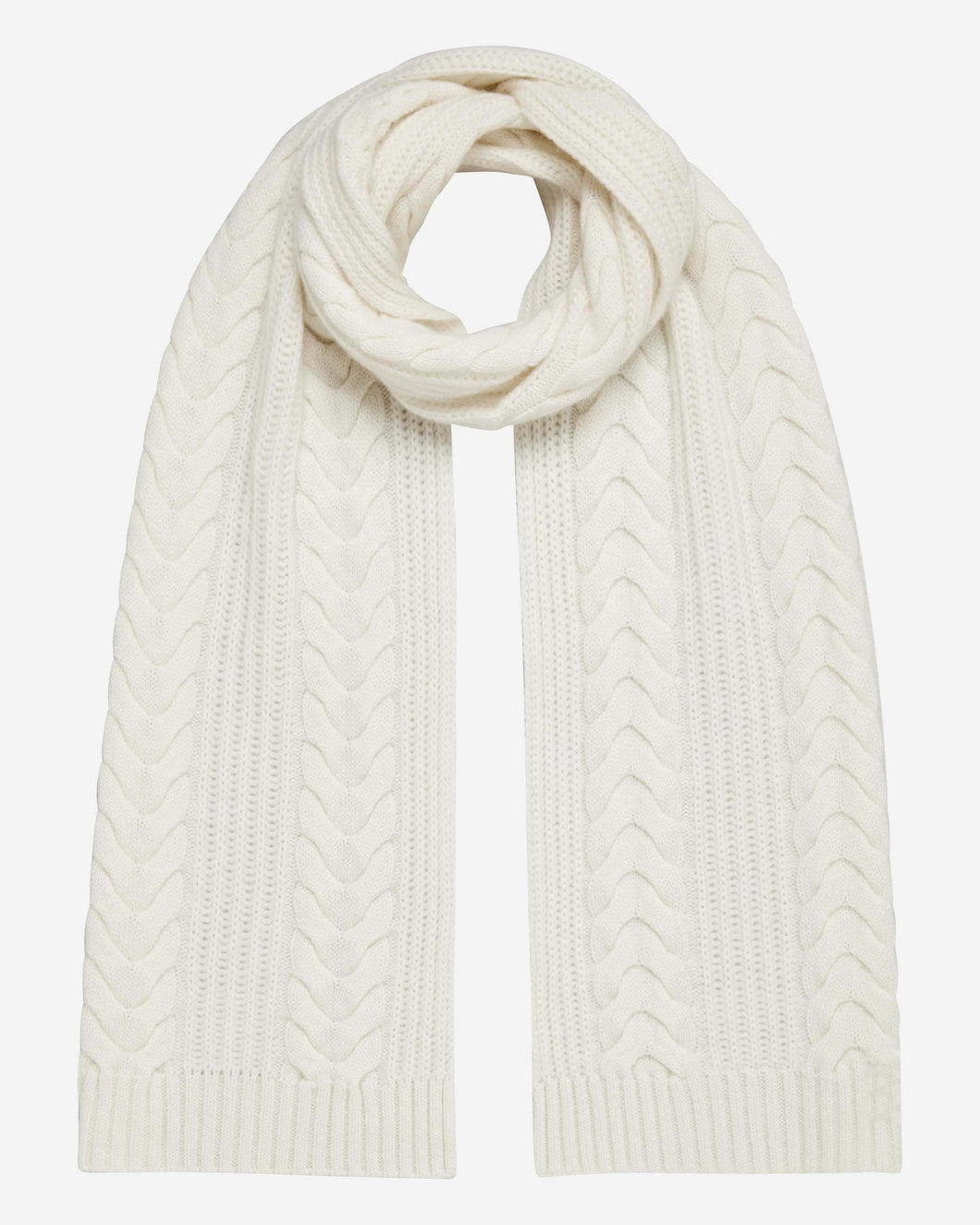 Wide Cable Cashmere Scarf New Ivory White