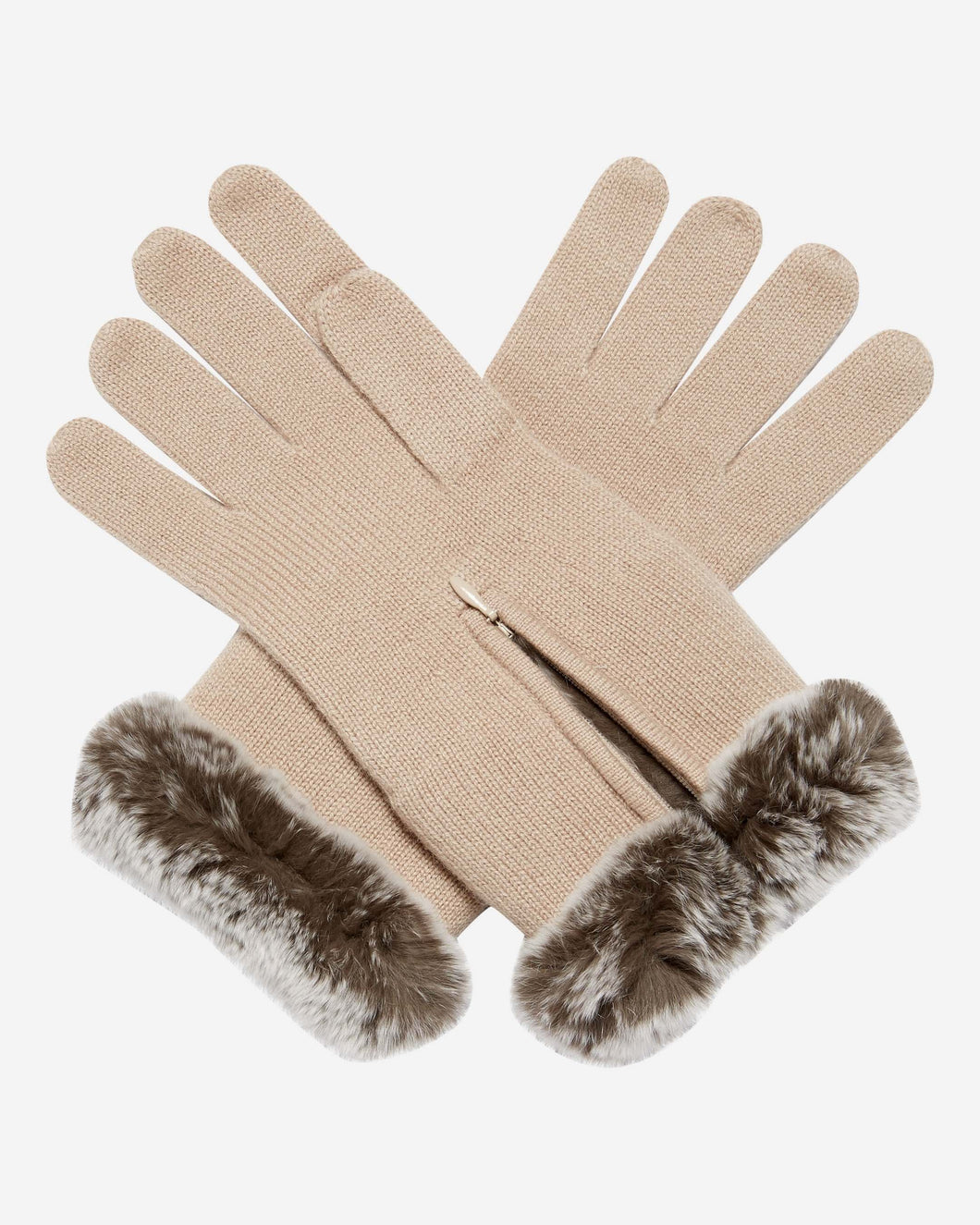 Fur And Cashmere Gloves Fawn Brown + Sable Brown Tipped Fur