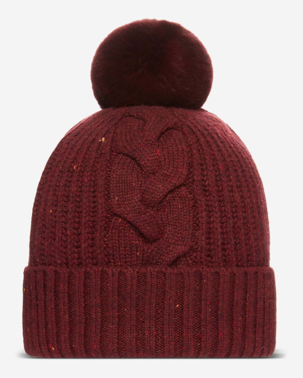 Fur Bobble Cable Cashmere Hat Burgundy Red + Burgundy Red Fur